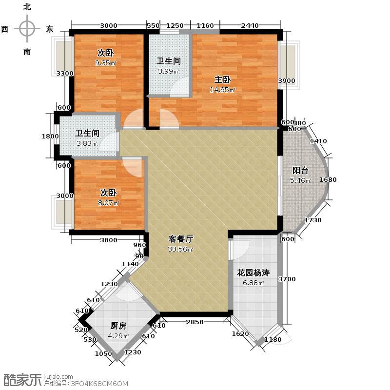 武汉国博新城翘楚居120.00㎡C2户型3室2厅2卫