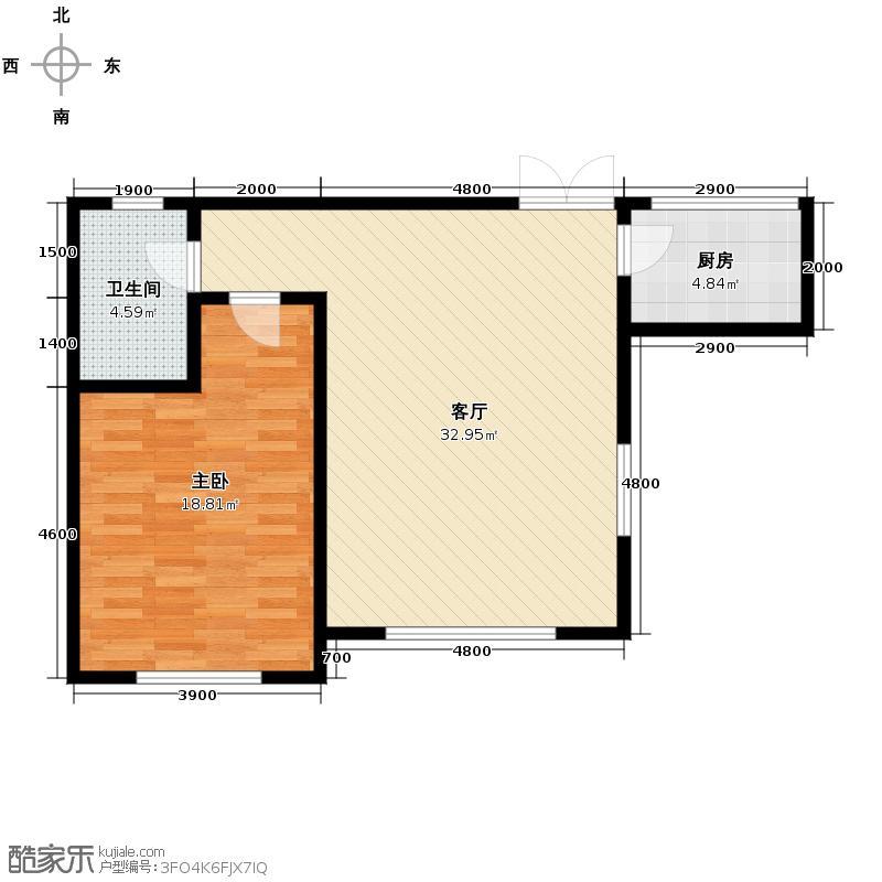 南湖祥水湾81.96㎡越层19#21#楼I户型1室1厅1卫1厨