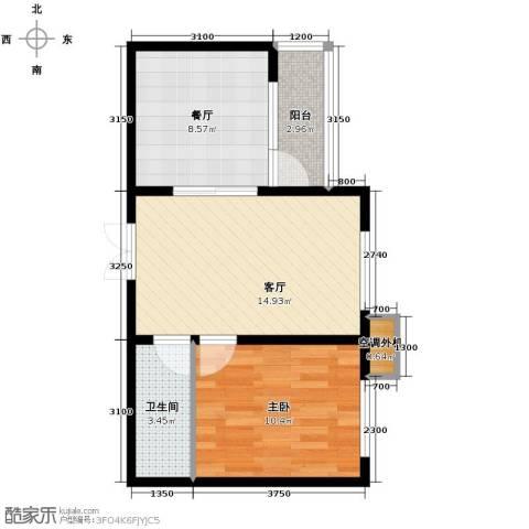百合尚城1室2厅1卫0厨59.00㎡户型图