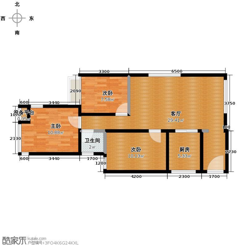 金莎雅苑74.76㎡户型3室1厅1卫1厨