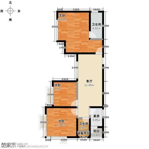 金莎雅苑3室1厅2卫1厨100.00㎡户型图