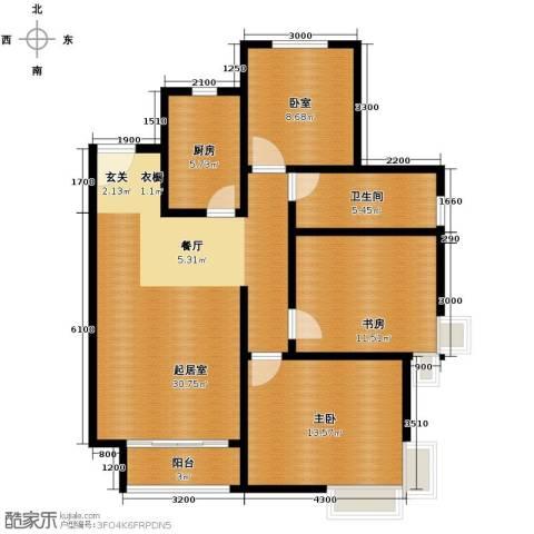 廊坊孔雀城3室2厅1卫0厨105.00㎡户型图
