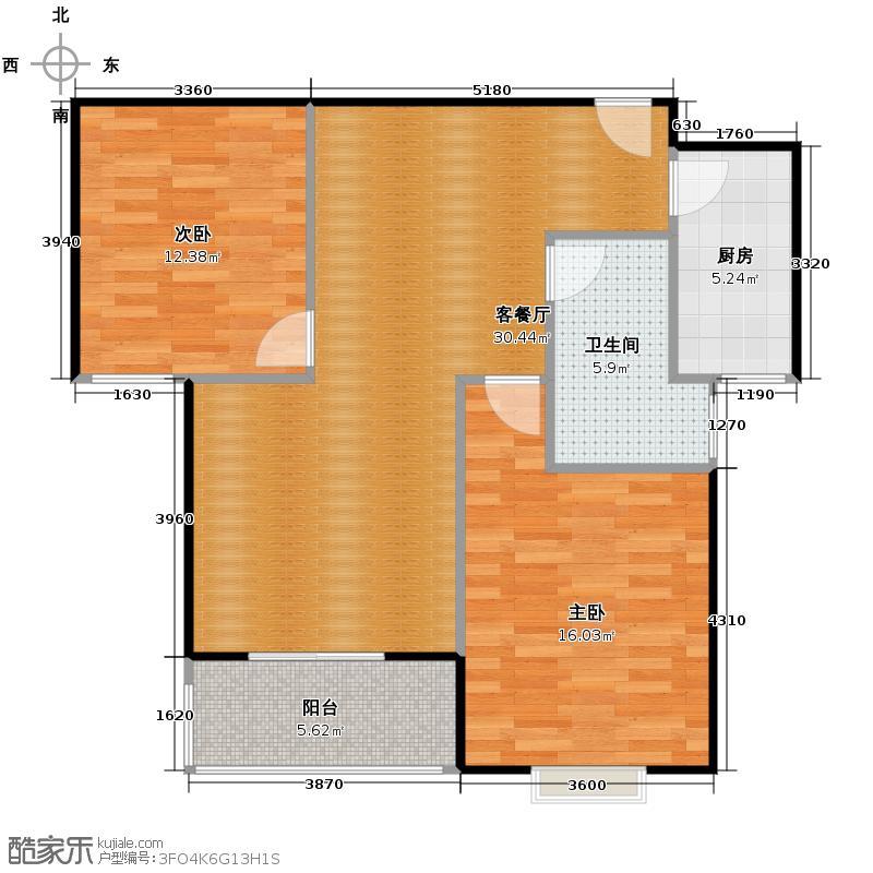 香樟园95.97㎡L户型2室1厅1卫1厨
