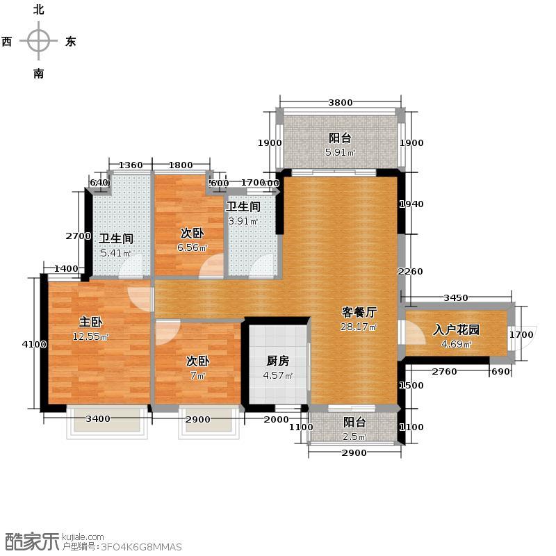 东港华府97.97㎡3/4号楼01户型3室2厅2卫