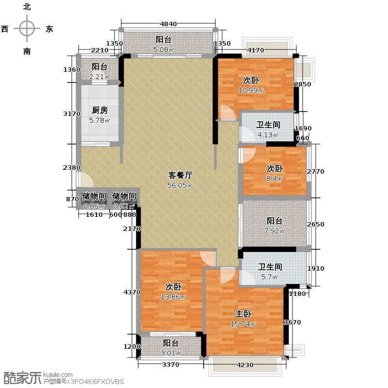 金地格林上院三期159.59㎡户型4室1厅2卫1厨