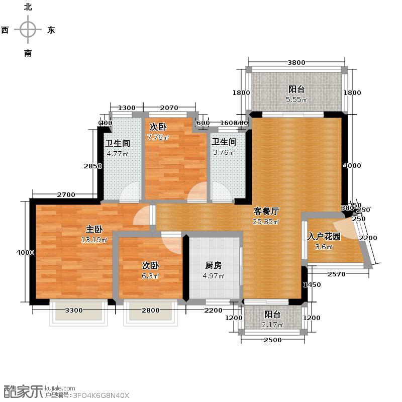 东港华府98.27㎡1/2号楼01户型3室2厅2卫