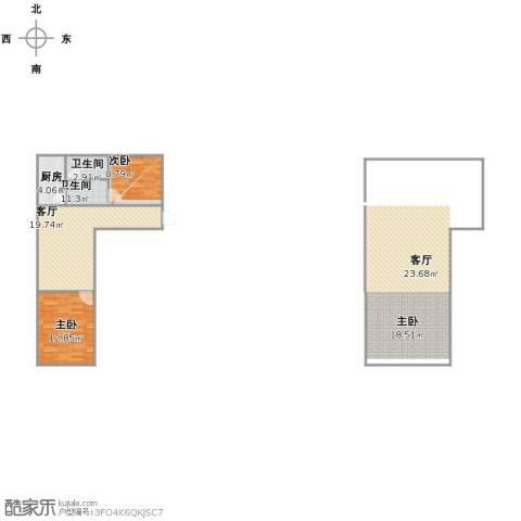 农光里小区1室1厅2卫1厨69.00㎡户型图