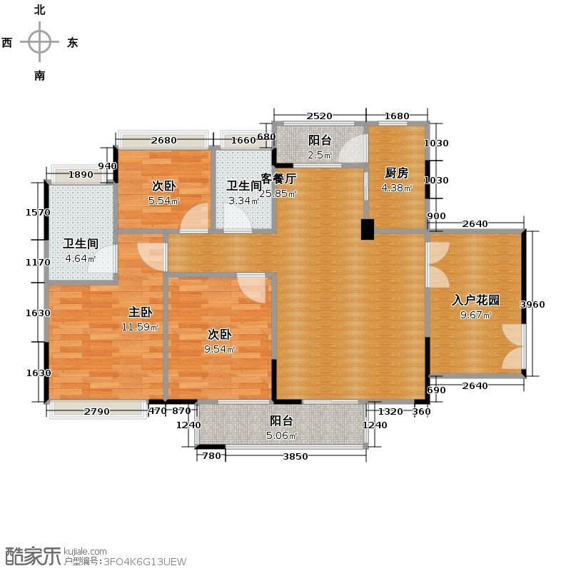 丰泰旗山绿洲89.58㎡户型3室2厅2卫