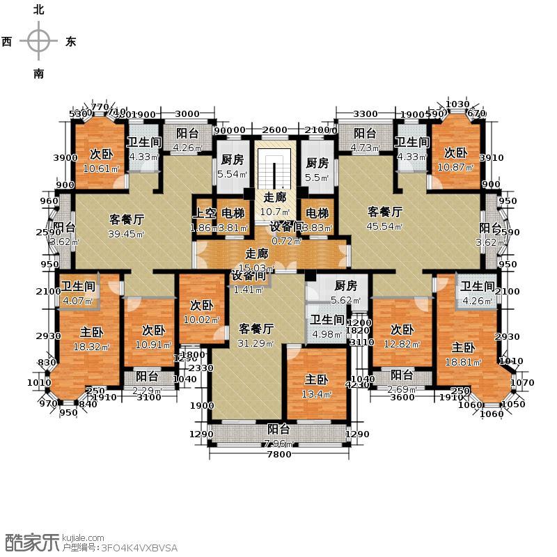 文菁花苑378.35㎡2号楼2-14层户型8室3厅5卫3厨