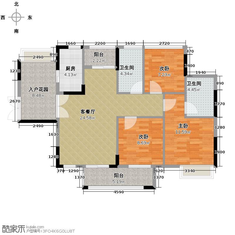 丰泰旗山绿洲97.00㎡2栋2单元B户型3室2厅2卫