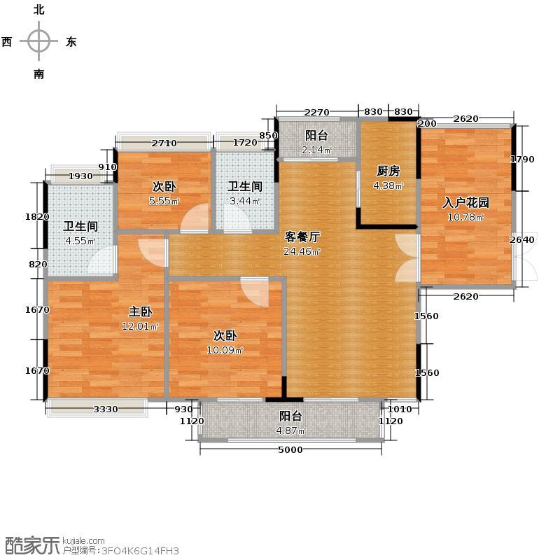 丰泰旗山绿洲89.66㎡户型3室2厅2卫