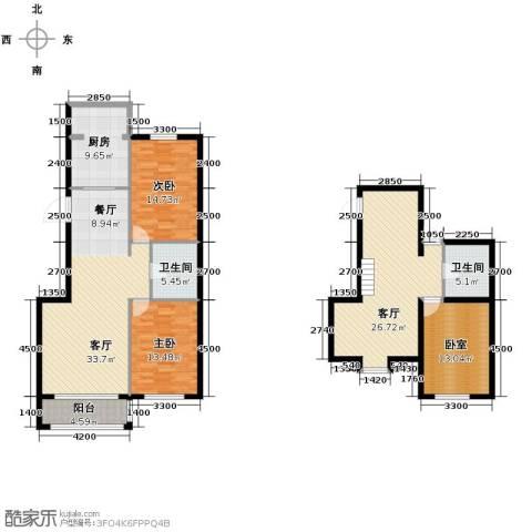 羽丰西江春晓2室2厅2卫1厨165.00㎡户型图