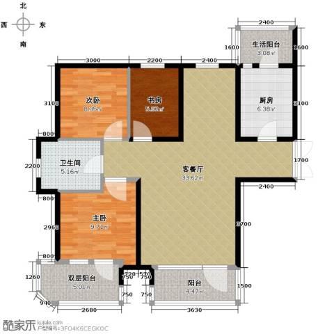 保利达江湾城3室2厅1卫0厨109.00㎡户型图