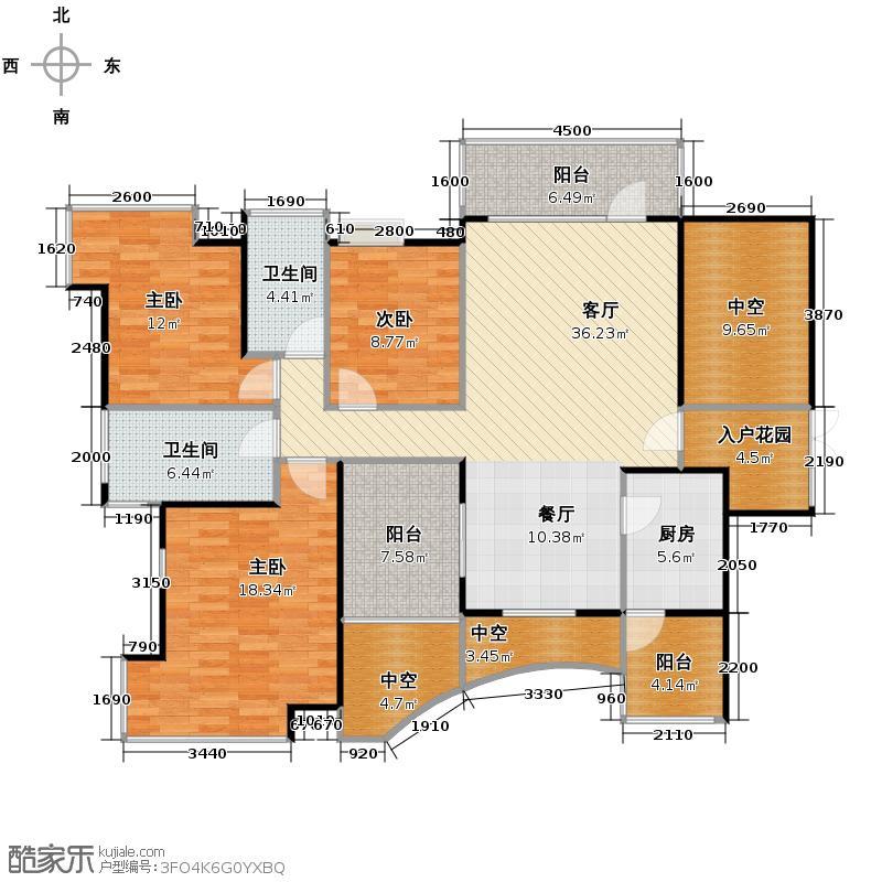 鼎峰品筑143.43㎡户型3室1厅2卫1厨