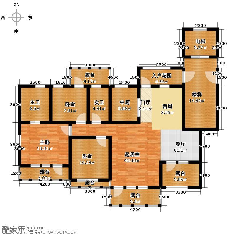 金地铂悦125.00㎡A95F洋房五层户型3室2厅2卫
