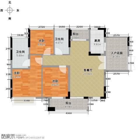 丰泰旗山绿洲3室2厅2卫0厨97.00㎡户型图