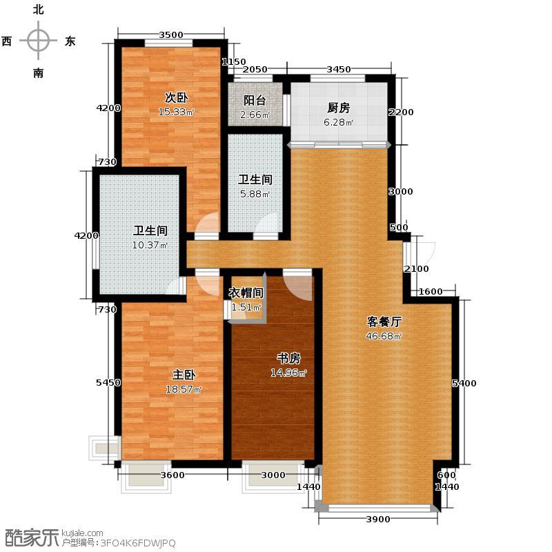 好景山庄154.38㎡四期45、46、47、48号楼户型3室2厅2卫