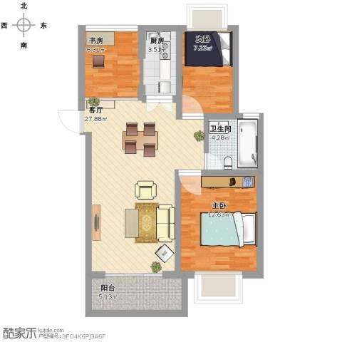 欣兰苑3室1厅1卫1厨97.00㎡户型图