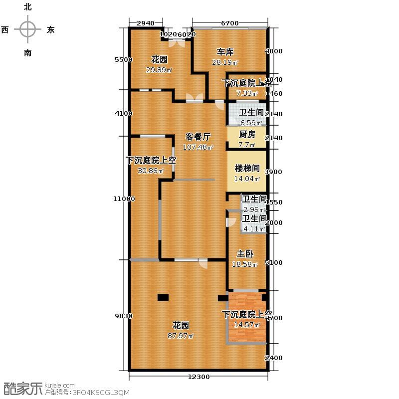 阳光100果岭公馆185.00㎡B6之一层平面图户型10室