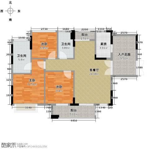丰泰旗山绿洲3室2厅2卫0厨100.00㎡户型图