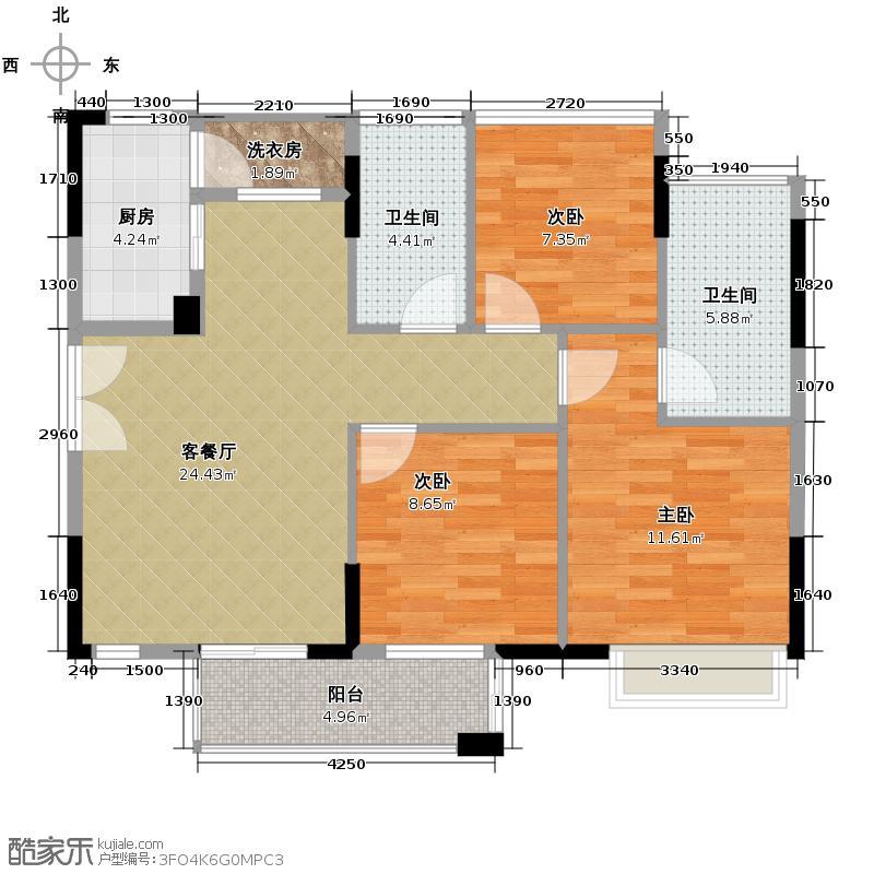 丰泰旗山绿洲92.00㎡1栋1单元户型3室2厅2卫