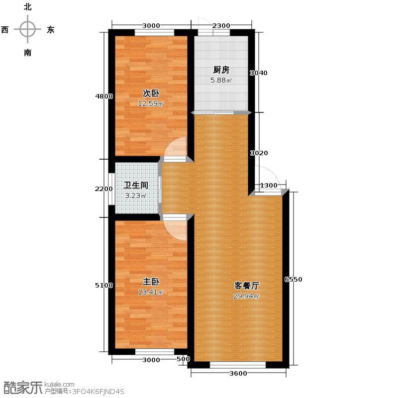 福苑73.79㎡户型2室1厅1卫1厨