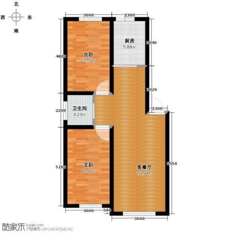福苑2室1厅1卫1厨92.00㎡户型图