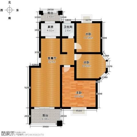 双湖明珠3室1厅1卫1厨106.00㎡户型图