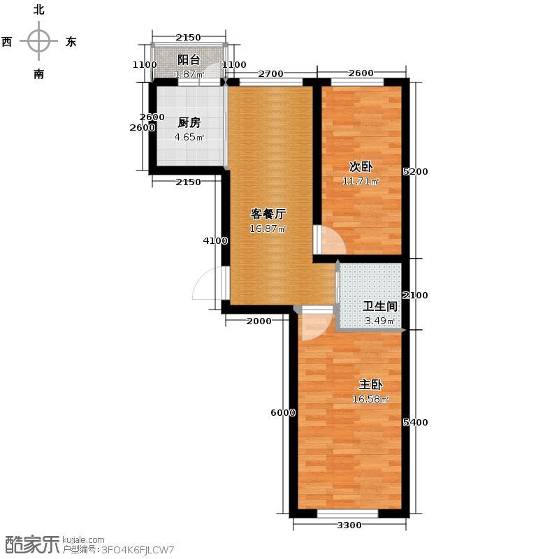 福苑63.26㎡户型2室1厅1卫1厨