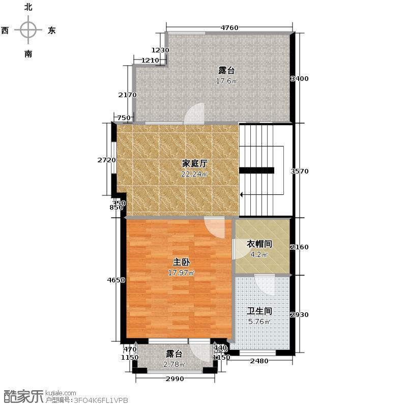 大运河孔雀城76.79㎡联排D1三层平面图户型10室