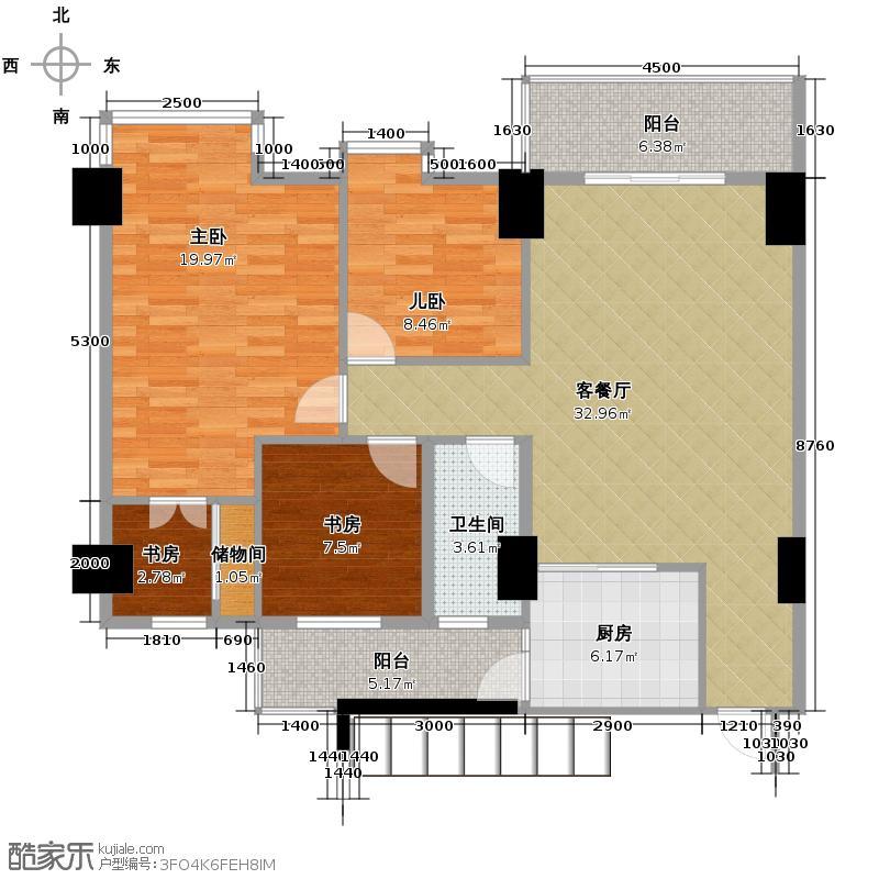世博嘉园115.52㎡五座2-15层01户型3室2厅2卫