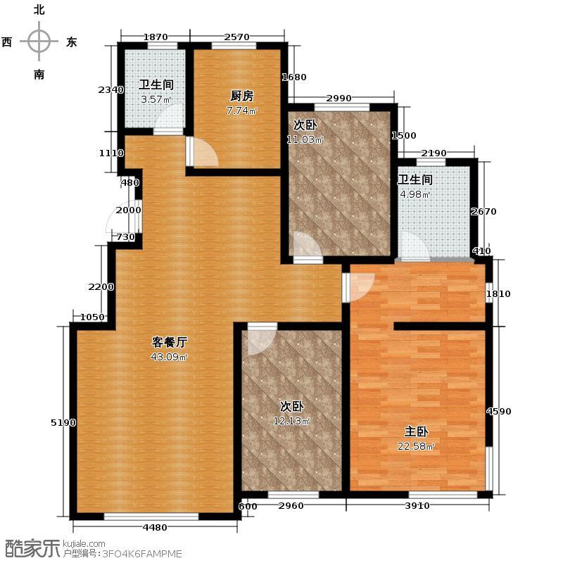 恒大翡翠华庭139.09㎡英伦小镇N小高层户型3室2厅2卫