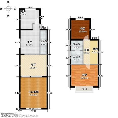 欧风小镇2室2厅3卫1厨121.00㎡户型图