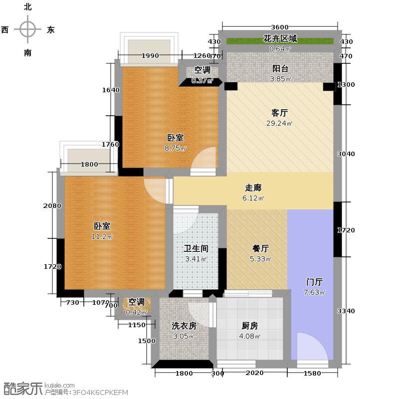 云山峰境花园76.20㎡10座03单位户型2室2厅1卫