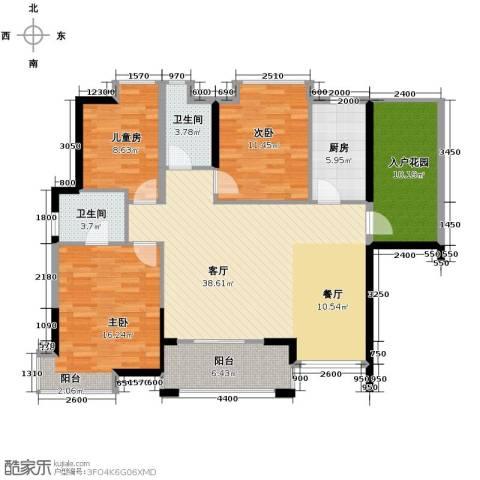 鼎峰花漫里3室2厅2卫0厨119.00㎡户型图