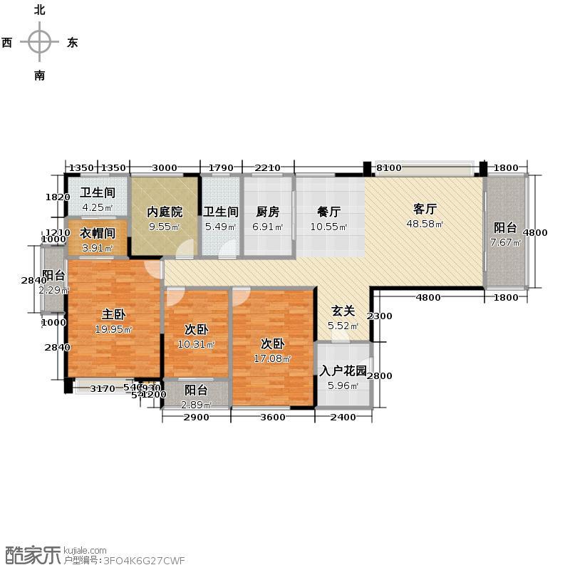 鸿基紫韵169.00㎡K3两梯三户45米客厅连55米阳台户型10室