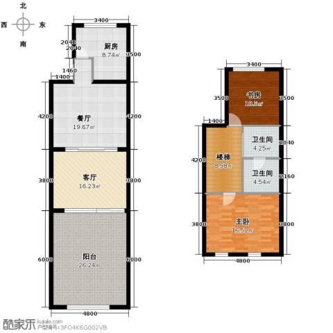 欧风小镇2室2厅2卫1厨121.00㎡户型图