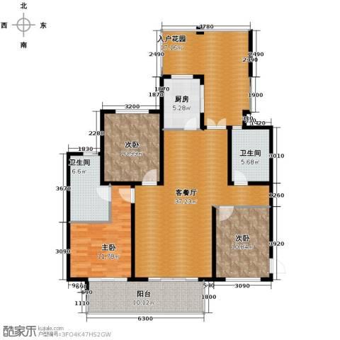 滨湖世纪城3室1厅2卫1厨157.00㎡户型图
