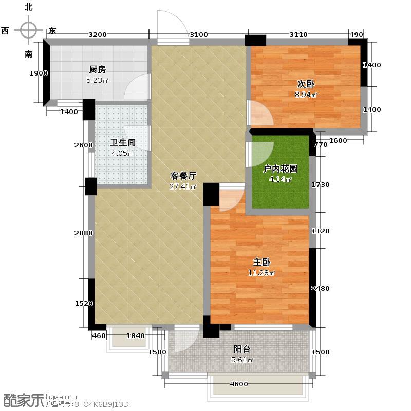 人信太子湾88.00㎡G2-02户型2室1厅1卫1厨