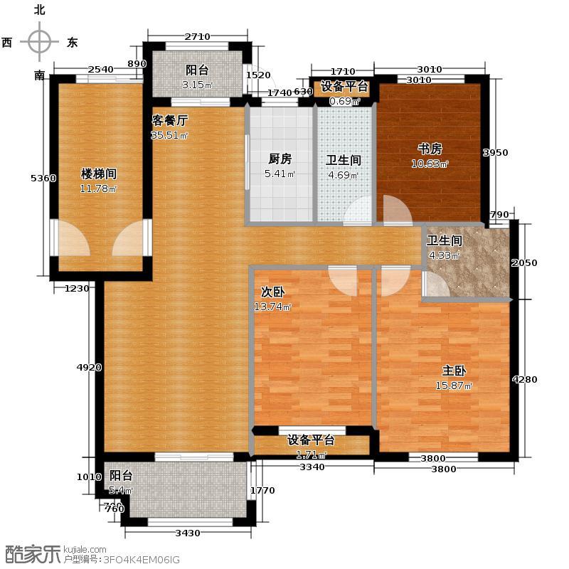 万马樱花雅苑117.00㎡C1户型3室1厅2卫1厨