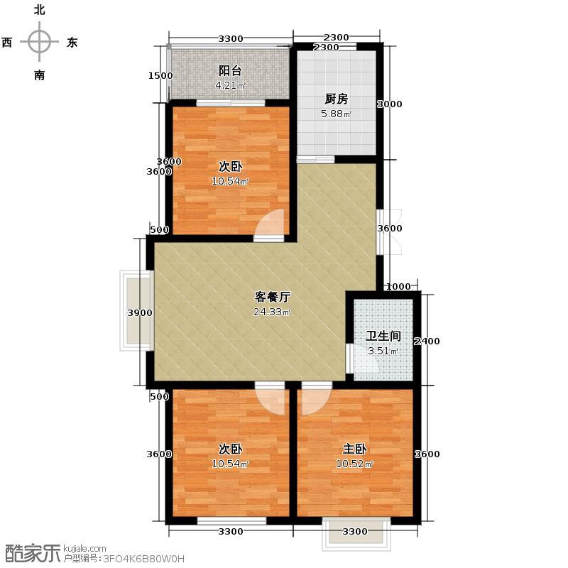 林语兰庭78.50㎡8、10号楼B在售户型3室2厅1卫