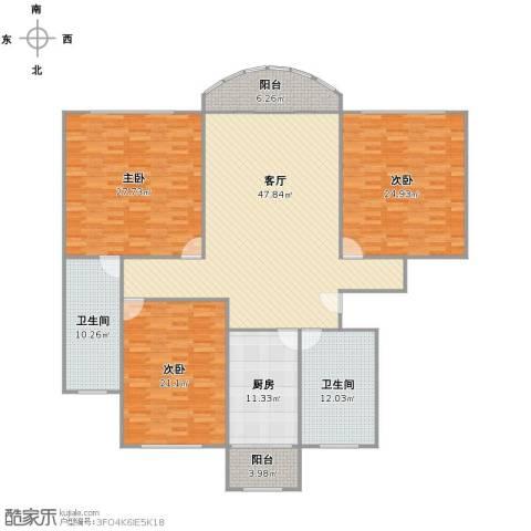 爱法新都3室1厅2卫1厨219.00㎡户型图