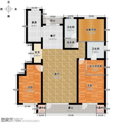万科蓝山2室1厅2卫1厨140.00㎡户型图