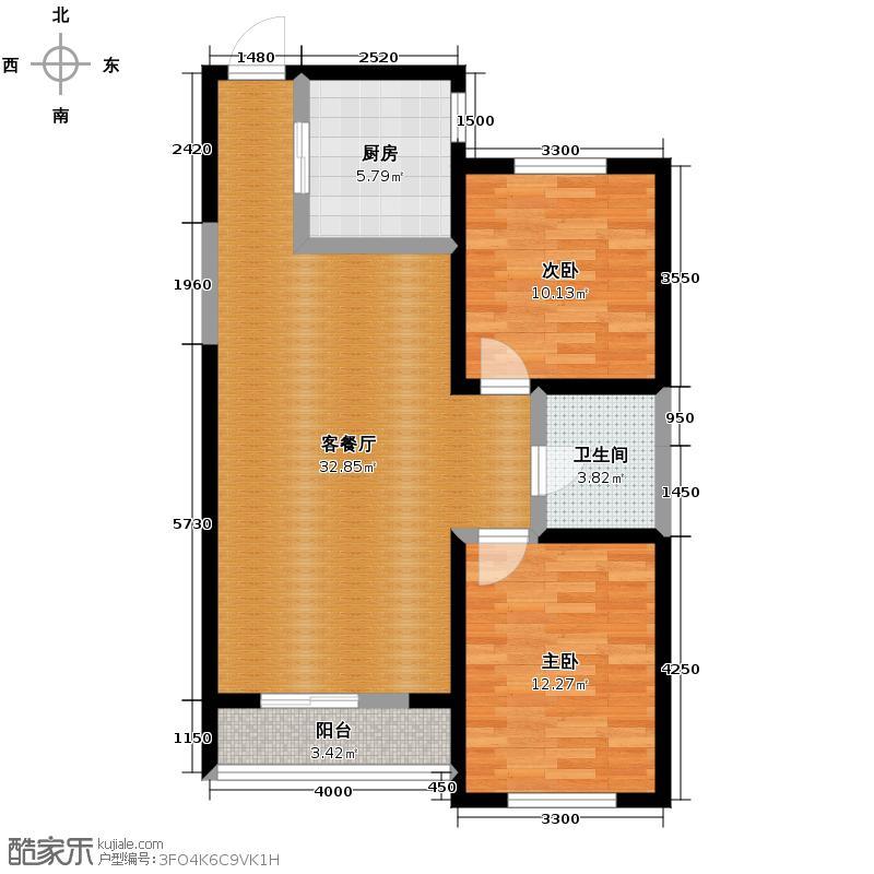 碧桂园凤凰城94.08㎡高层户型2室2厅1卫