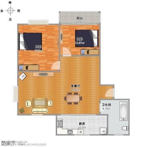 广益佳苑2室1厅1卫1厨136.00㎡户型图