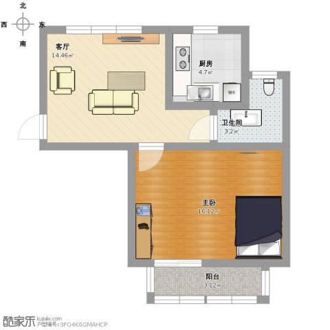 千汇一村1室1厅1卫1厨61.00㎡户型图