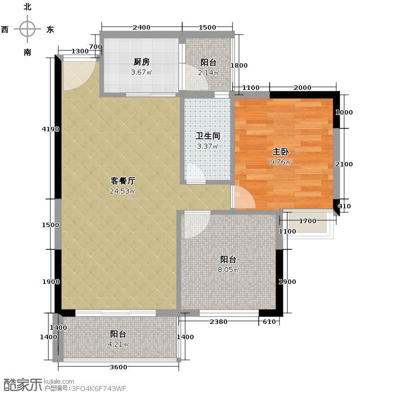 ��荟62.33㎡B栋01单元户型1室1厅1卫1厨