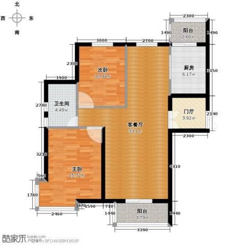 悦城2室1厅1卫1厨80.29㎡户型图