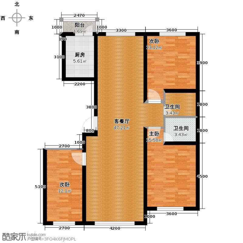 福苑115.34㎡户型3室1厅2卫1厨