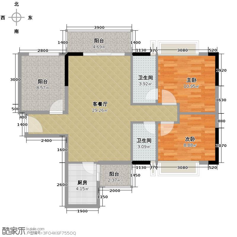 ��荟84.96㎡B栋04单元户型2室1厅2卫1厨